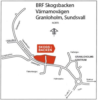Karta över BRF Skogsbacken